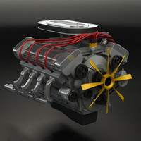 3d model engine v8 classic
