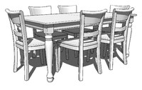spindel leg dining room 3ds