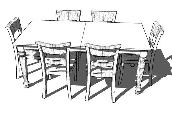 Spindel Leg Dining Room 3ds