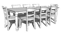 Spindel Leg Dining Room Table Kit w/ 8 Chairs
