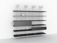 3d shelves alu wood model
