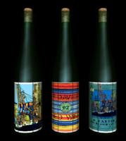 Trio of wine bottles in VRML-2