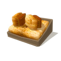 bread basket 5 3d obj