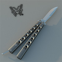 3d model benchmade butterfly knife balisong
