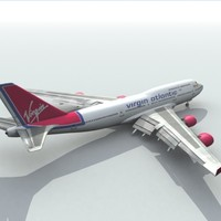 3d 747-400 virgin model