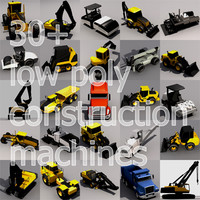 30+ Low Poly Construction Machines.MAX