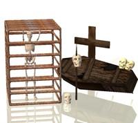 3d model skeleton cage skull