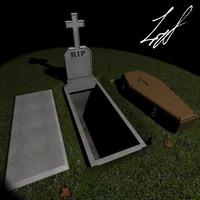 grave coffin 3d model