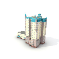 3d 3ds low-poly building 13
