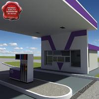 gas station v20 3d model