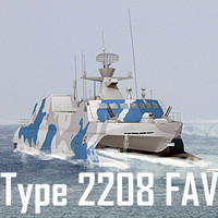 Chinese Navy Type 2208 Fast Attack Craft (low polygon) (2 camouflage patterns included)