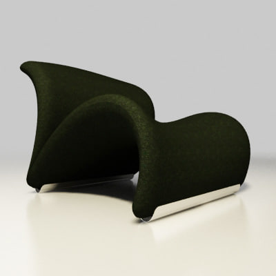 artifort chair design pierre paulin 3ds - le chat lounge chair by Pierre Paulin Artifort... by 2in1studio