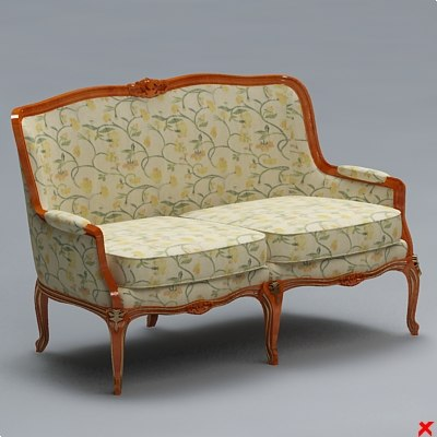 3dsmax sofa old fashioned for Old fashioned couch