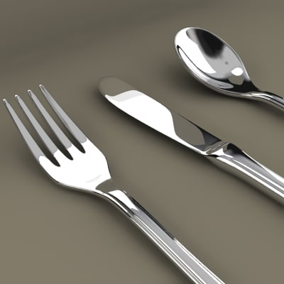 3d spoon fork knife model