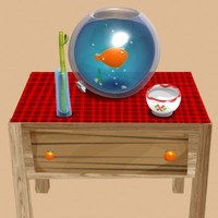 aquarium table cartoon 3d model