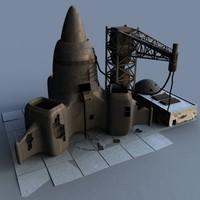 3d derelict rocketship abandoned
