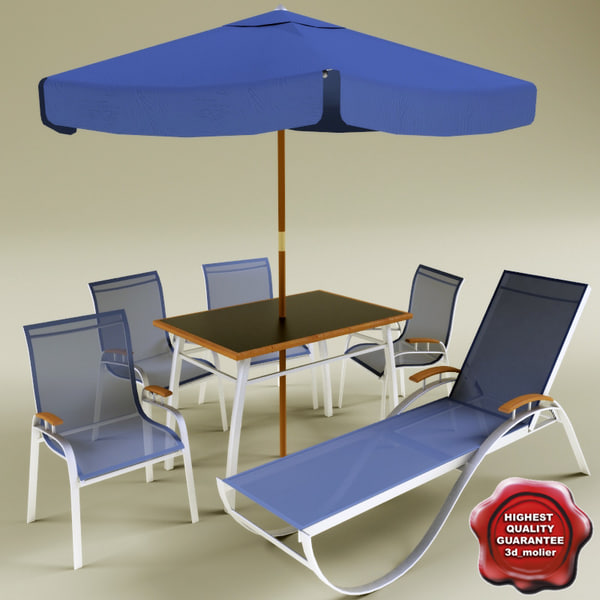 garden lounge chair outdoor furniture exterior wood wooden seat parasol home chaise sun table sunbed relaxer 3d model