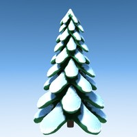 stylized tree snow obj