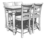 Spindel Leg Pub Table Kit w/ 4 Chairs