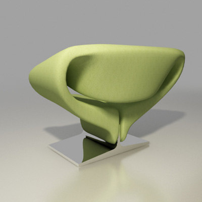 artifort chair design pierre paulin 3d model - ribbon lounge chair F582 by Pierre Paulin Artifort... by 2in1studio