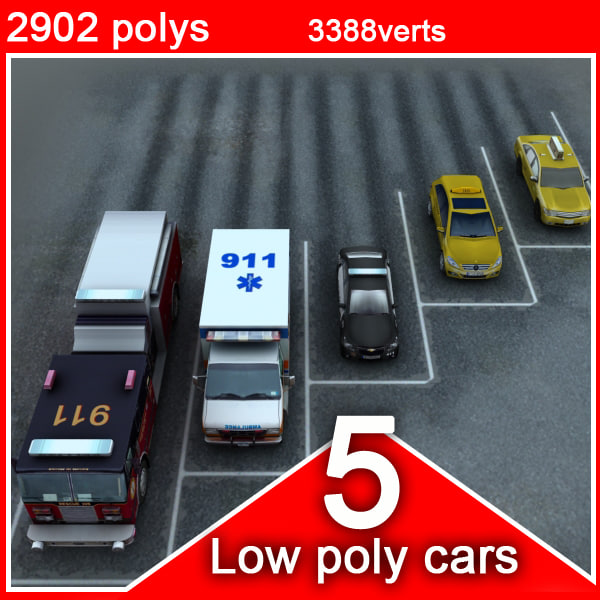5 social vehicles cars 3d xsi - 5 social vehicles (low poly)... by be fast