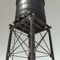 3d roof water tower model