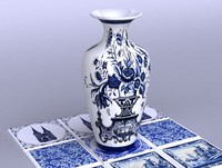 DUTCH DELFT VASE AND PORCLAIN TILES