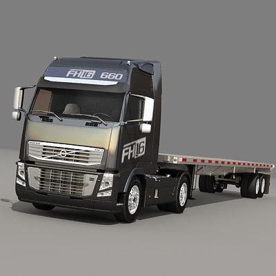 3d semi truck flatbed trailer