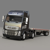 Semi Truck with flatbed trailer 03