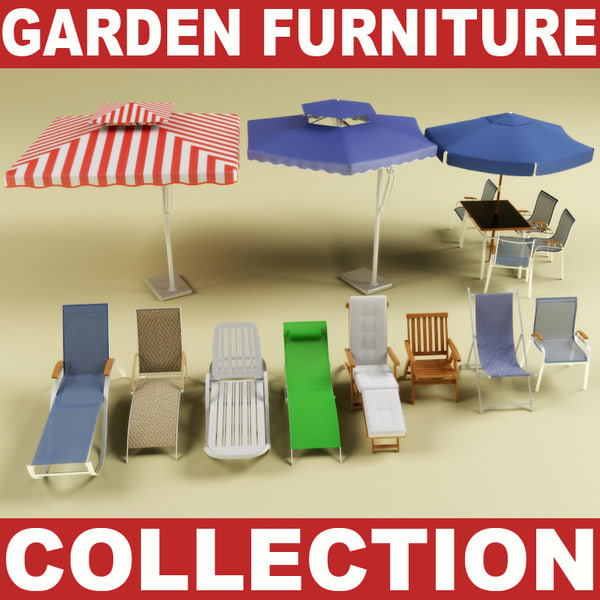 3d model of garden furniture collection vol 2 by 3d molier for Outdoor furniture 3d max