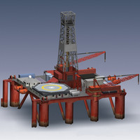 3d offshore semi-submersible oil rig model
