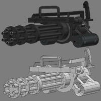 3d gun chaingun model