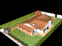 villa bungalow italian house 3d model