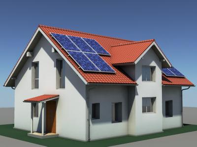 3ds Modern Residential House Solar Panels