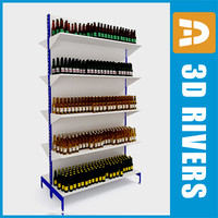 supermarkets beer shelving 3d model