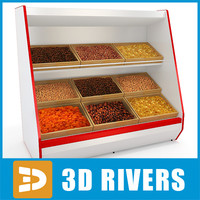 3d model inclined shelving dried fruit