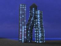 dancing towers 3d obj