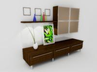 cabinet pedestal book 3d model