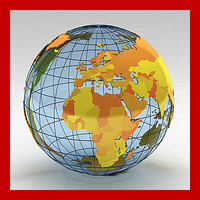 3d geopolitical earth countries continents model