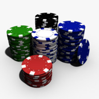Poker chips high polygon