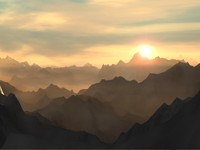 majestic mountains scene 3d lwo