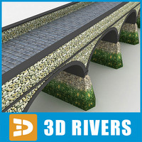 3d model arched stone bridge