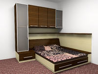 built-in bed cabinets 3d max