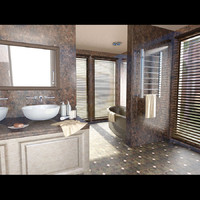 modern bathroom rooms 3d obj