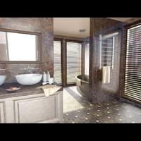 modern bathroom rooms 3d obj