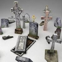 3d graveyard grave model