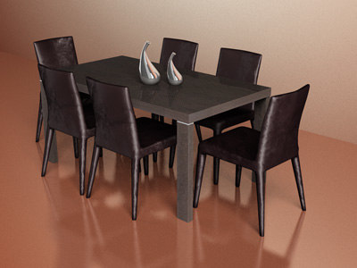 3dsmax whit table chair