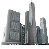 3d model 12 skyscrapers