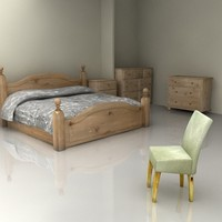 Harvest Oak Wood Bedroom Furniture Set - High Quality Furniture 3d model