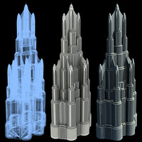 3d super skyscraper futuristic building model